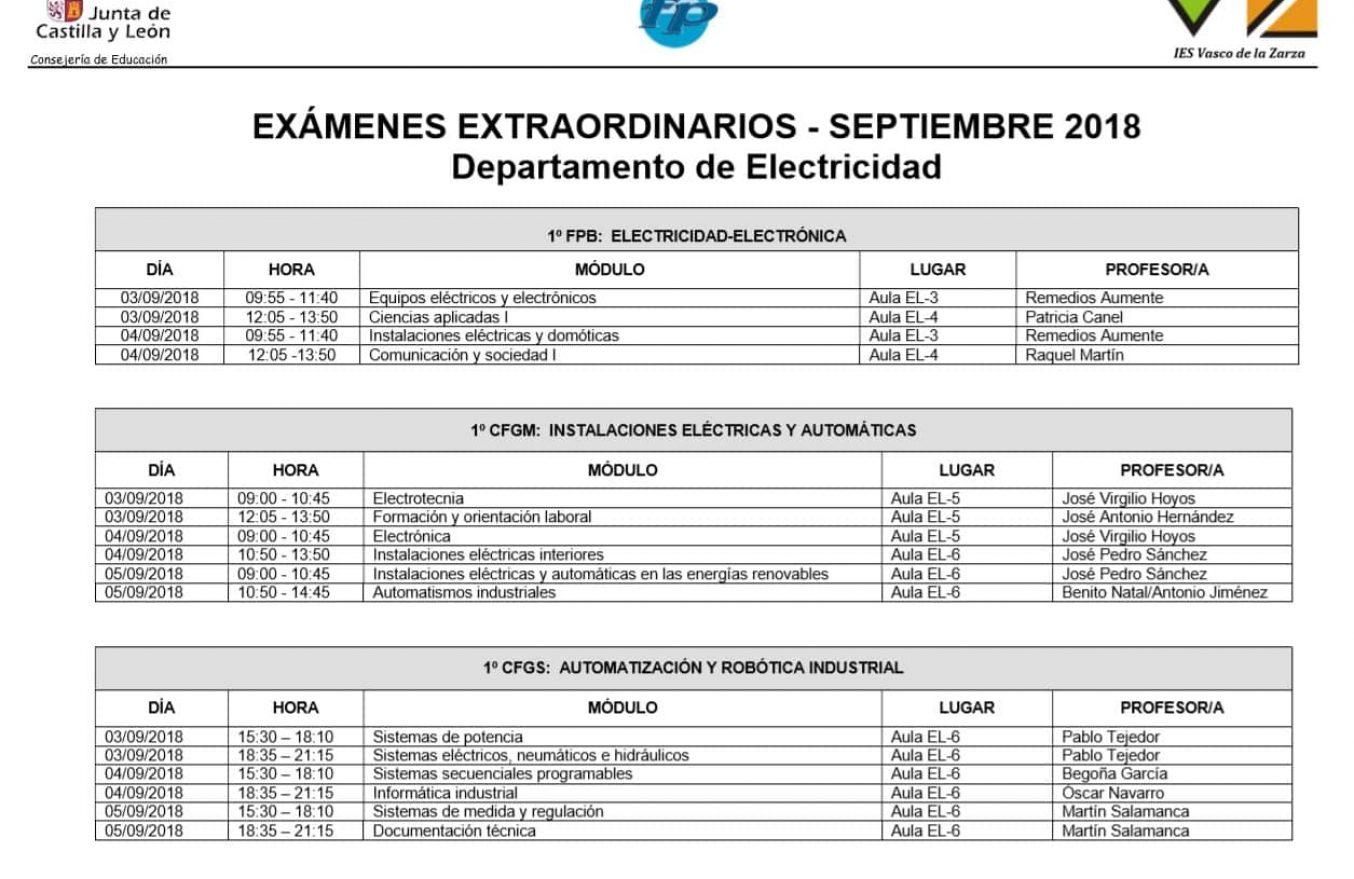 Examenes septiembre Dpto Electricidad